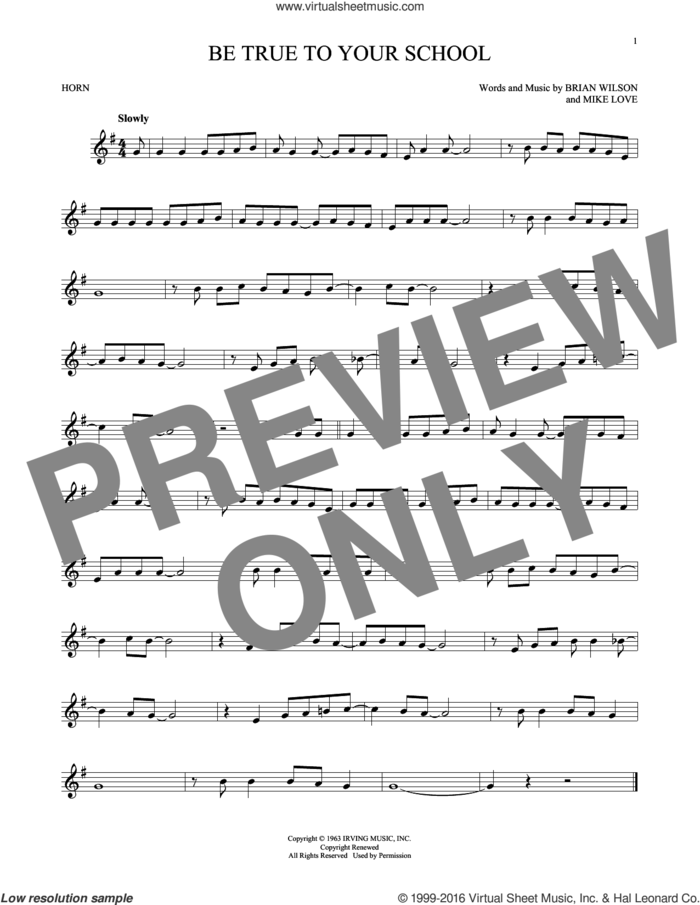 Be True To Your School sheet music for horn solo by The Beach Boys, Brian Wilson and Mike Love, intermediate skill level