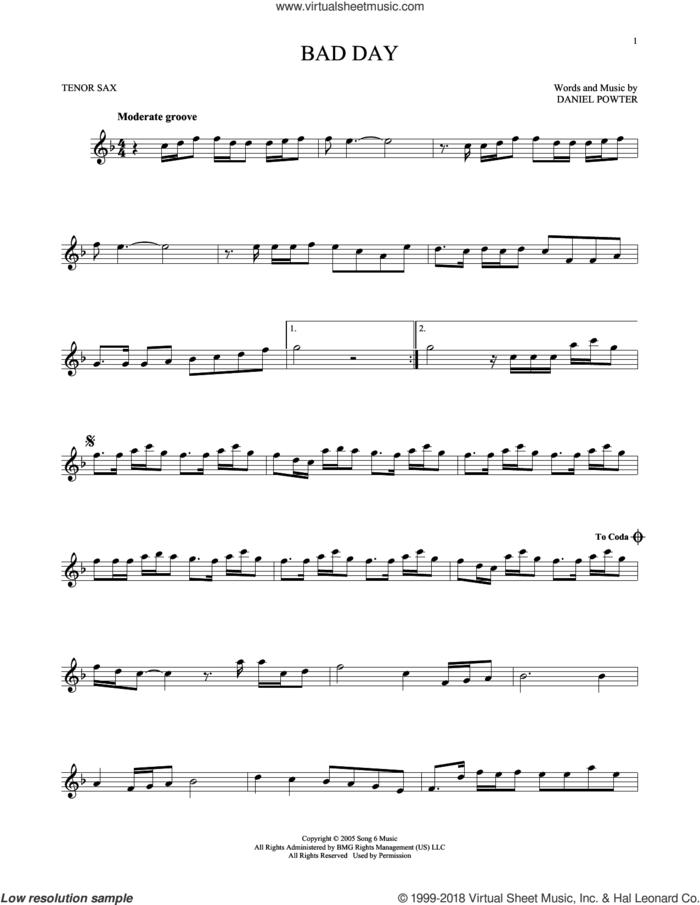 Bad Day sheet music for tenor saxophone solo by Daniel Powter, intermediate skill level