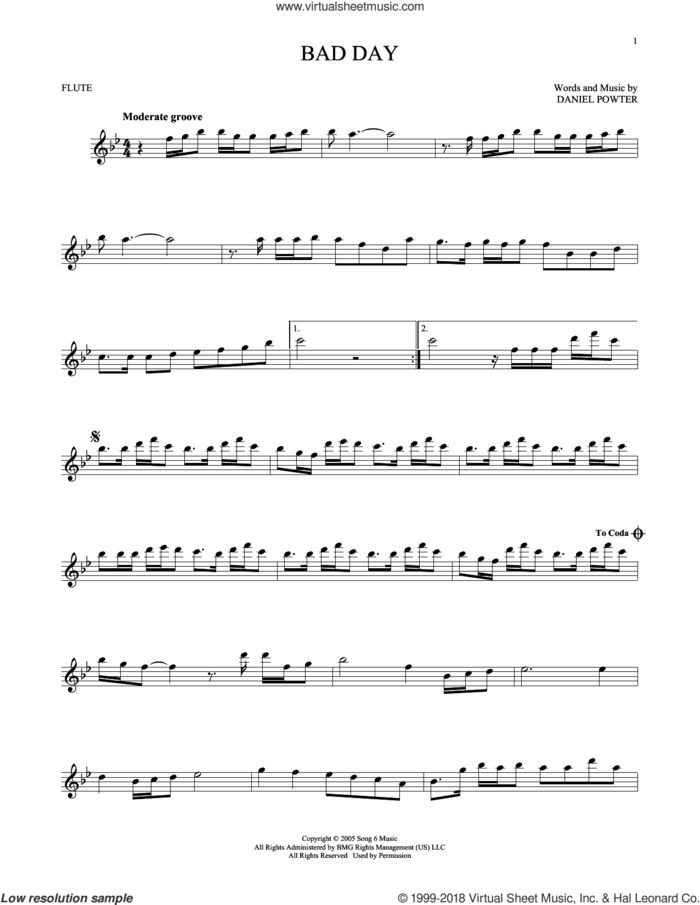 Bad Day sheet music for flute solo by Daniel Powter, intermediate skill level
