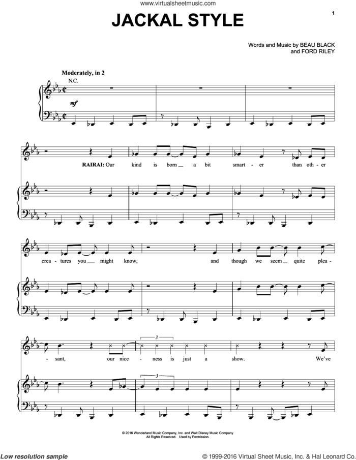 Jackal Style sheet music for voice, piano or guitar by Beau Black and Ford Riley, intermediate skill level