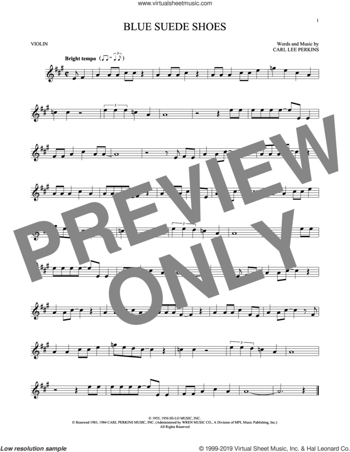 Blue Suede Shoes sheet music for violin solo by Carl Perkins and Elvis Presley, intermediate skill level