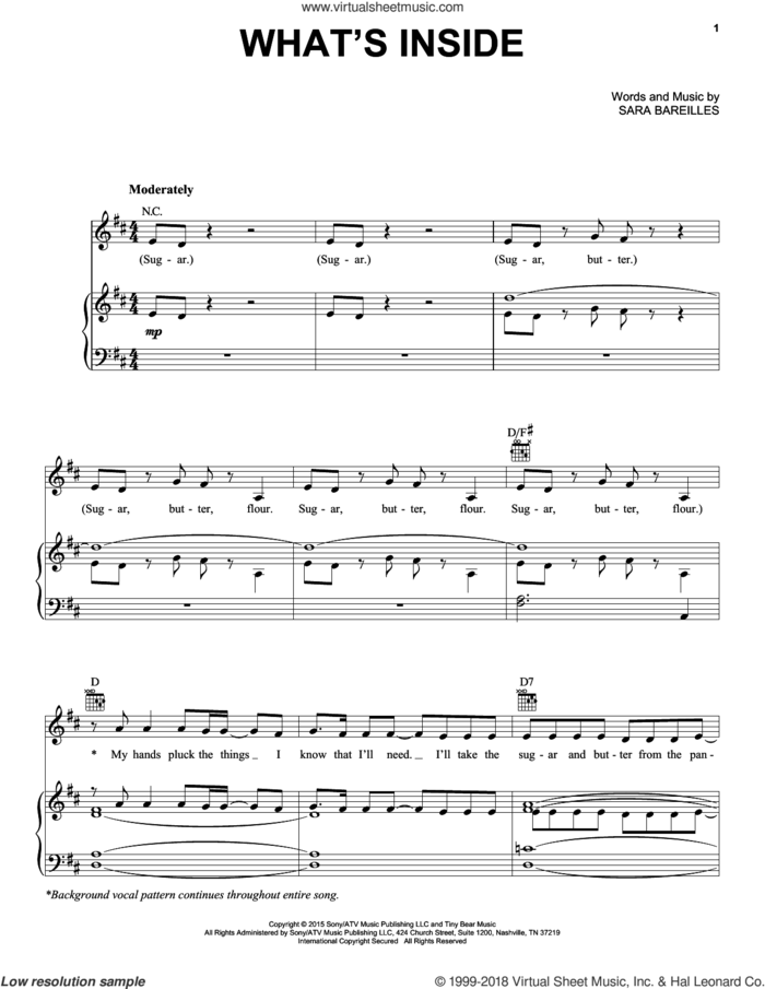 What's Inside (from Waitress The Musical) sheet music for voice, piano or guitar by Sara Bareilles, intermediate skill level