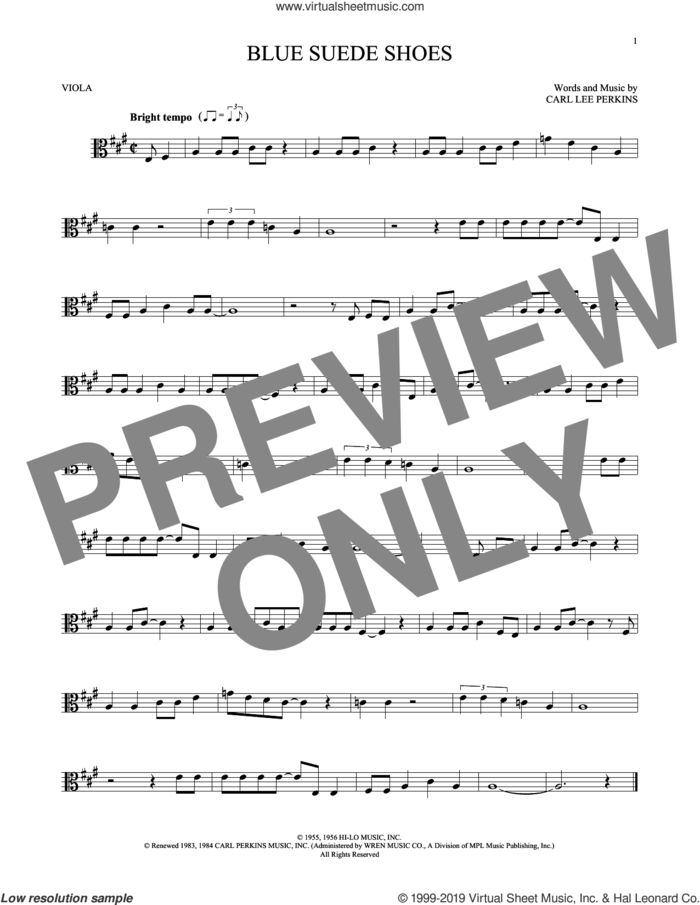Blue Suede Shoes sheet music for viola solo by Carl Perkins and Elvis Presley, intermediate skill level