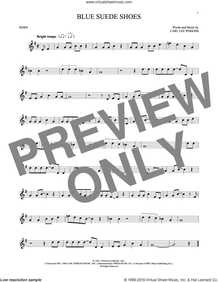 Blue Suede Shoes sheet music for horn solo by Carl Perkins and Elvis Presley, intermediate skill level
