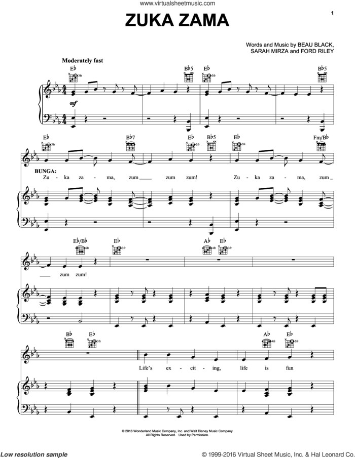 Zuka Zama sheet music for voice, piano or guitar by Beau Black, Ford Riley and Sarah Mirza, intermediate skill level