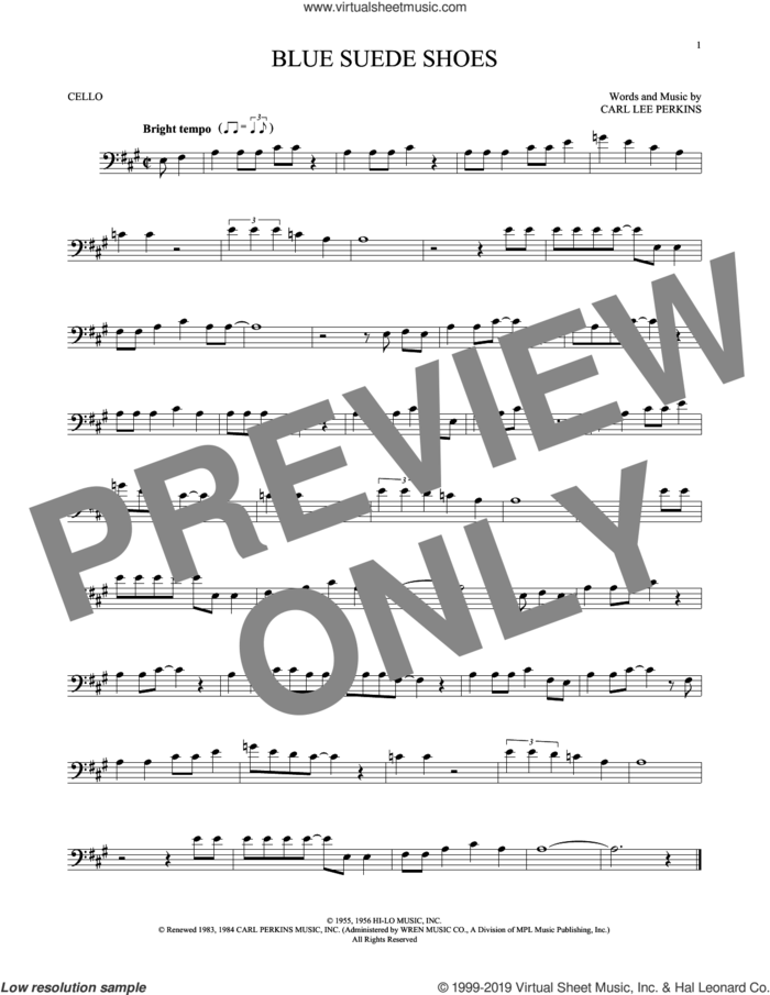 Blue Suede Shoes sheet music for cello solo by Carl Perkins and Elvis Presley, intermediate skill level