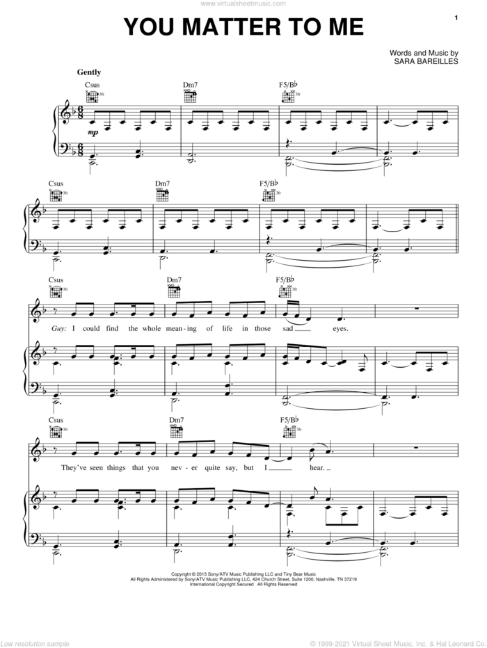 You Matter To Me (from Waitress The Musical) sheet music for voice, piano or guitar by Sara Bareilles, intermediate skill level