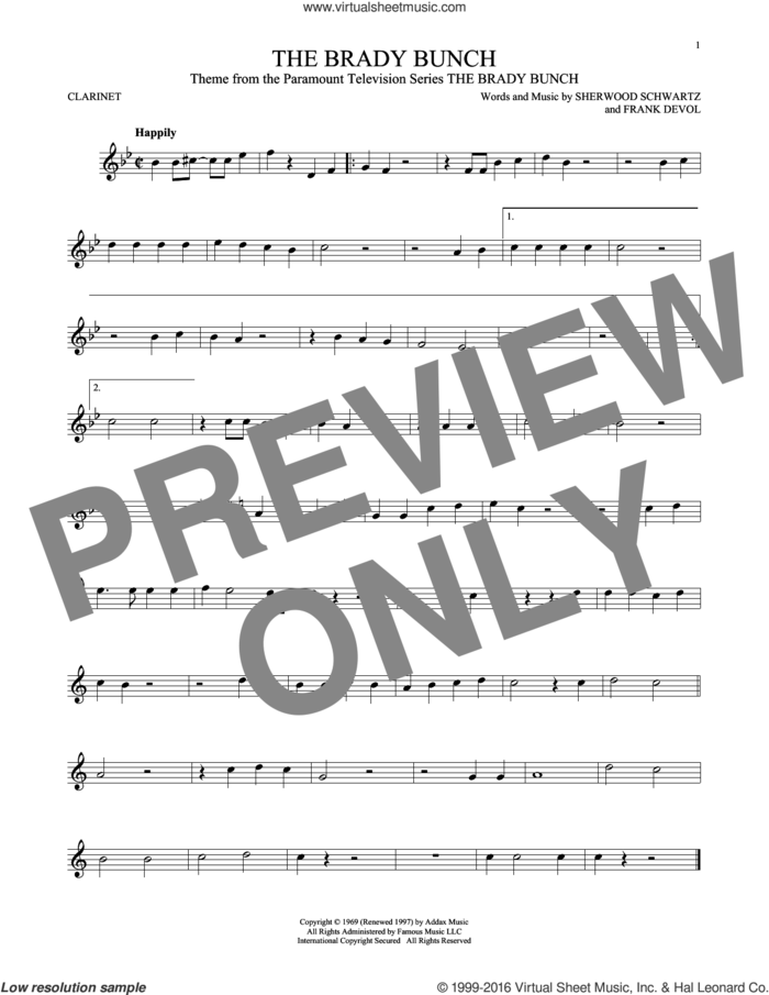 The Brady Bunch sheet music for clarinet solo by Frank DeVol and Sherwood Schwartz, intermediate skill level