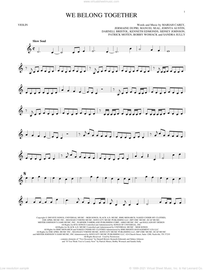 We Belong Together sheet music for violin solo by Mariah Carey, intermediate skill level