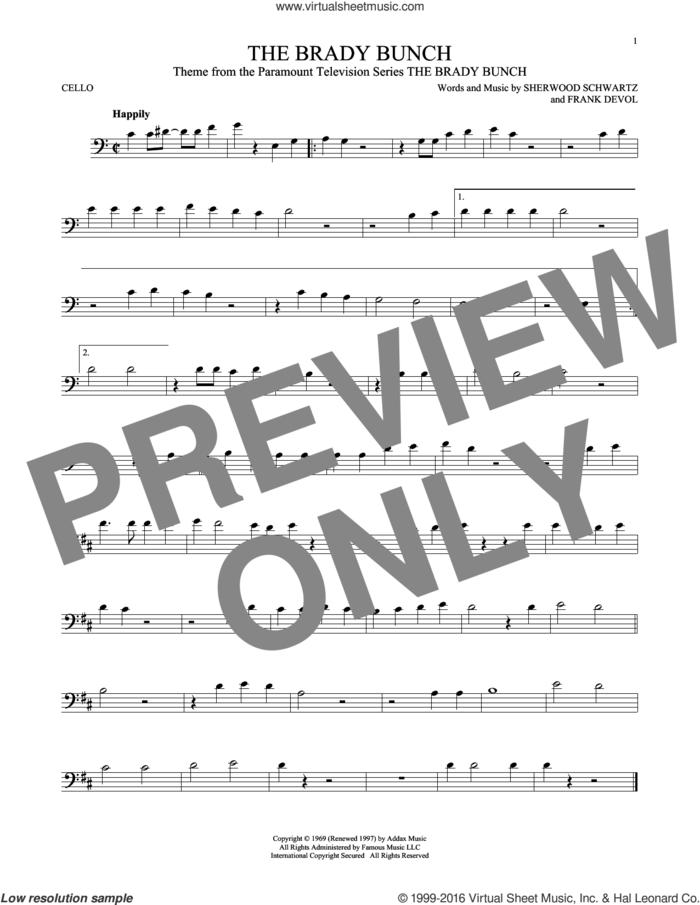 The Brady Bunch sheet music for cello solo by Frank DeVol and Sherwood Schwartz, intermediate skill level