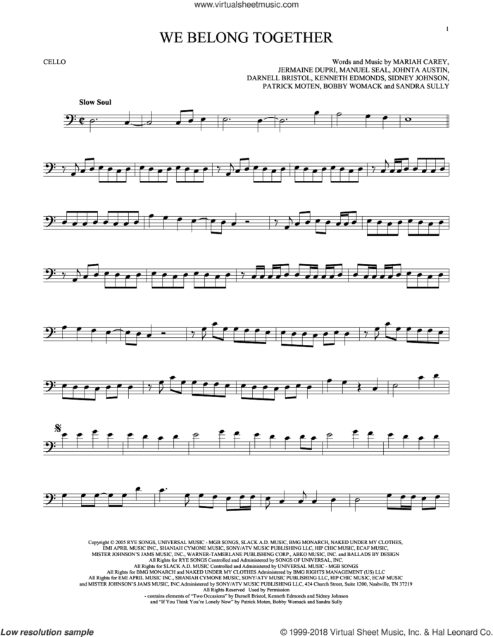 We Belong Together sheet music for cello solo by Mariah Carey, intermediate skill level