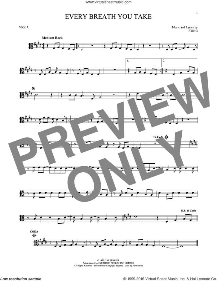 Every Breath You Take sheet music for viola solo by The Police and Sting, intermediate skill level
