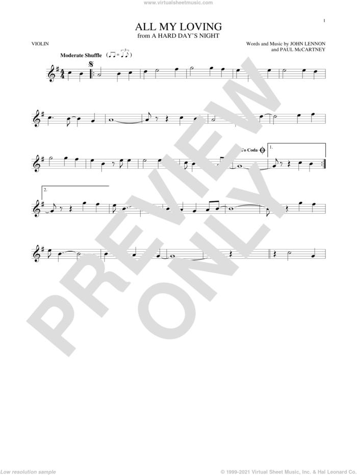 All My Loving sheet music for violin solo by The Beatles, John Lennon and Paul McCartney, intermediate skill level