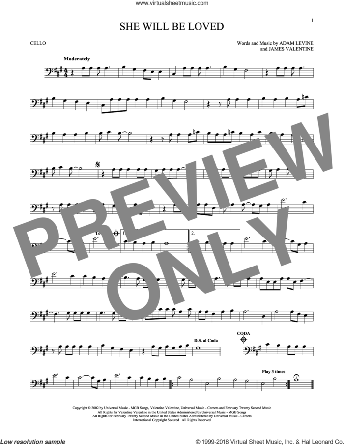 She Will Be Loved sheet music for cello solo by Maroon 5, Adam Levine and James Valentine, intermediate skill level