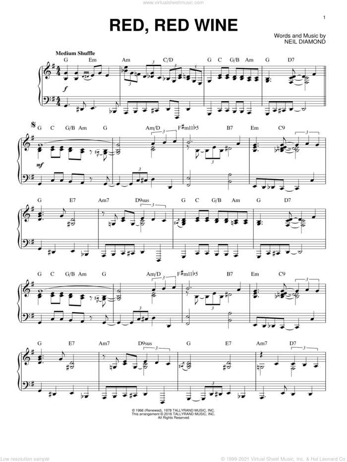 Red, Red Wine [Jazz version] (arr. Brent Edstrom) sheet music for piano solo by Neil Diamond, intermediate skill level