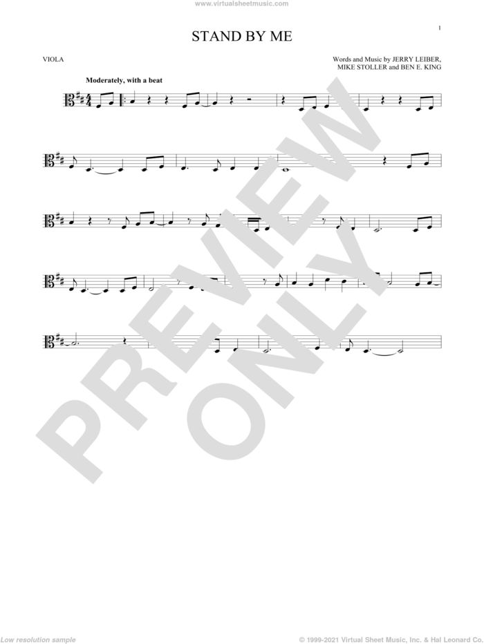 Stand By Me sheet music for viola solo by Ben E. King, Jerry Leiber and Mike Stoller, intermediate skill level