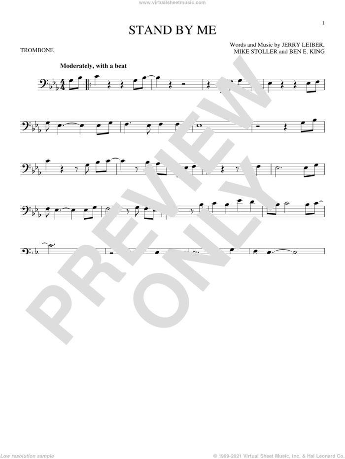 Stand By Me sheet music for trombone solo by Ben E. King, Jerry Leiber and Mike Stoller, intermediate skill level