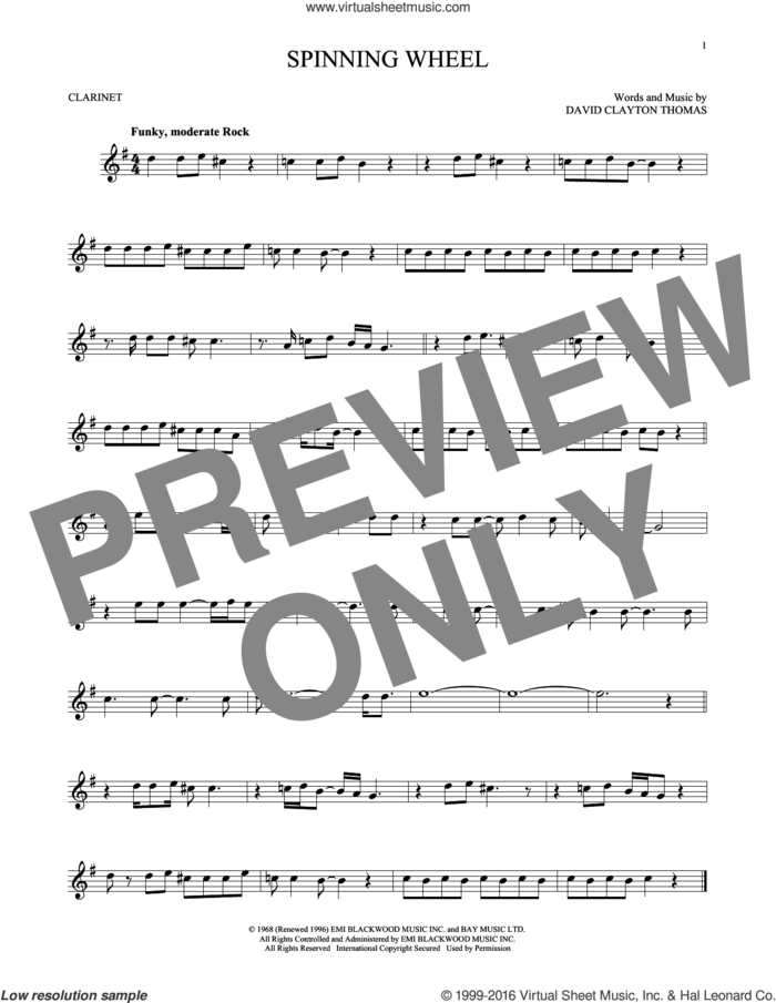 Spinning Wheel sheet music for clarinet solo by Blood, Sweat & Tears and David Clayton Thomas, intermediate skill level