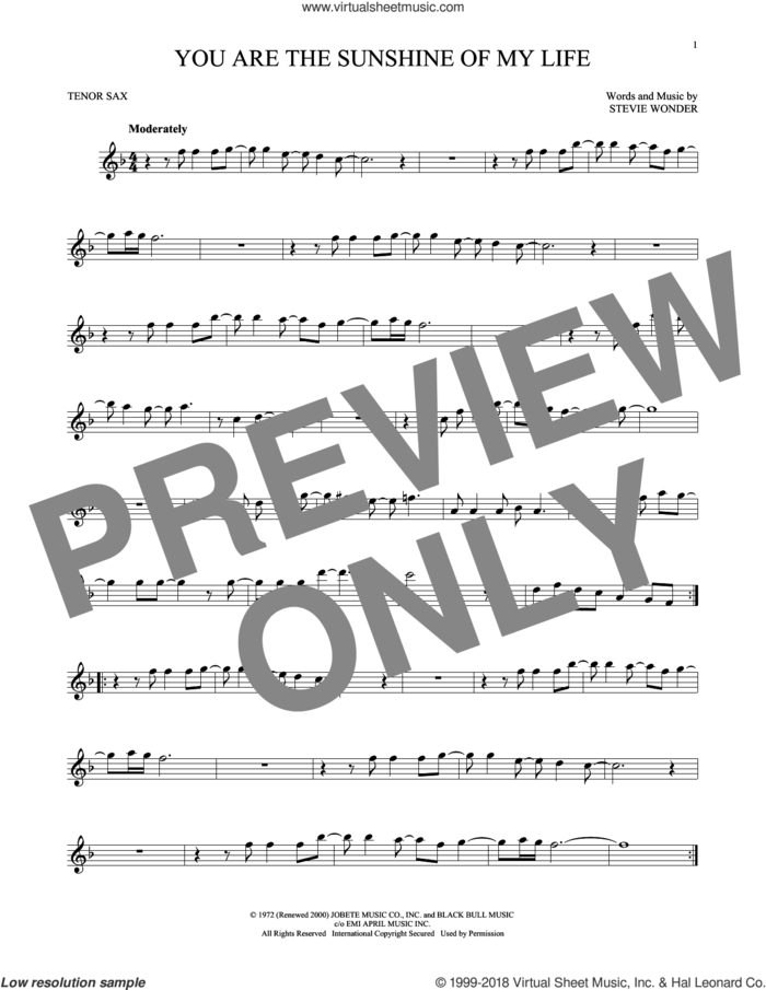 You Are The Sunshine Of My Life sheet music for tenor saxophone solo by Stevie Wonder, intermediate skill level