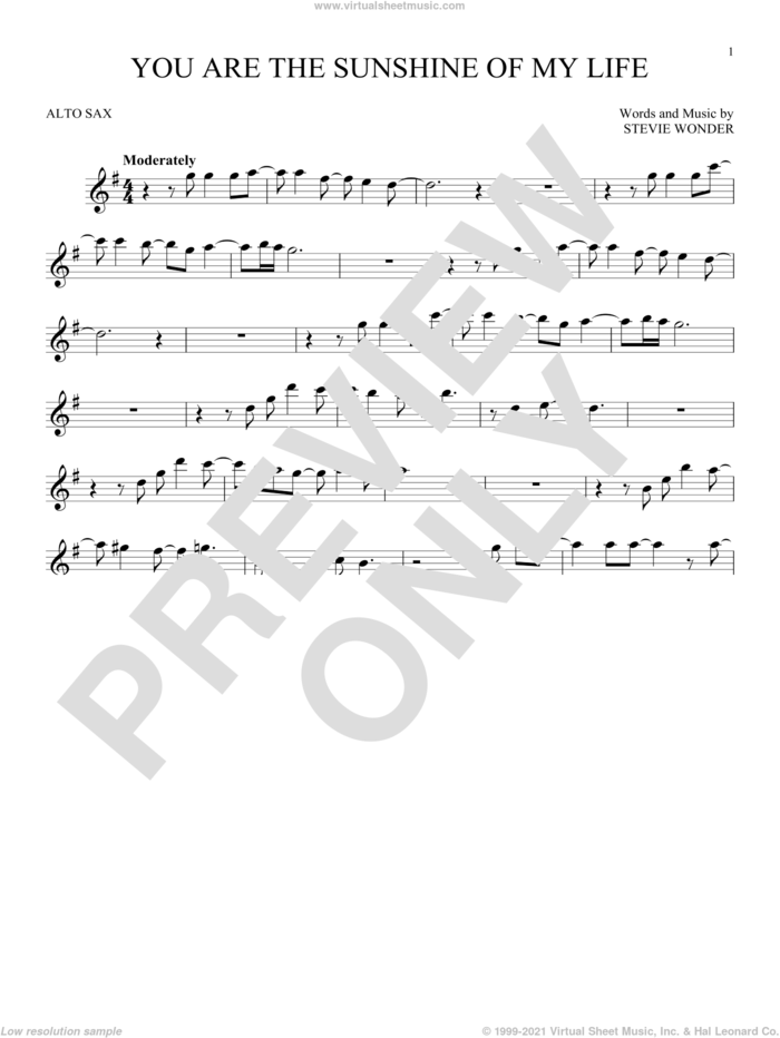 You Are The Sunshine Of My Life sheet music for alto saxophone solo by Stevie Wonder, intermediate skill level