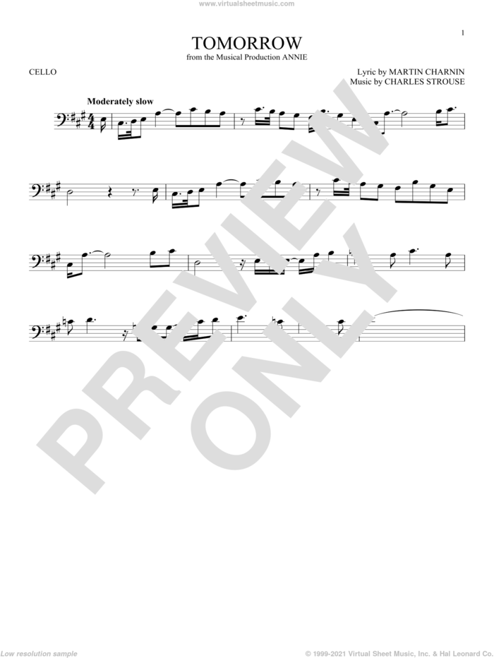 Tomorrow sheet music for cello solo by Charles Strouse and Martin Charnin, intermediate skill level