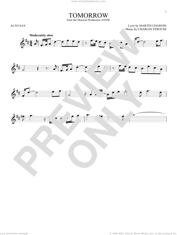 Tomorrow sheet music for alto saxophone solo by Charles Strouse and Martin Charnin, intermediate skill level