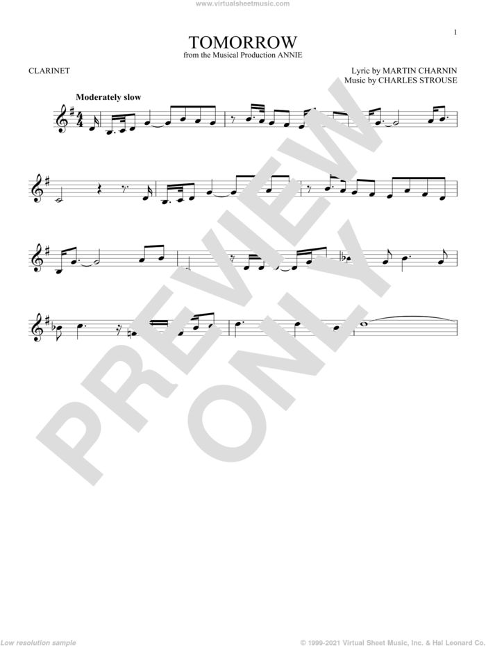 Tomorrow sheet music for clarinet solo by Charles Strouse and Martin Charnin, intermediate skill level
