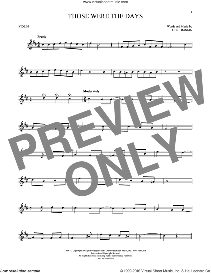 Those Were The Days sheet music for violin solo by Mary Hopkins and Gene Raskin, intermediate skill level