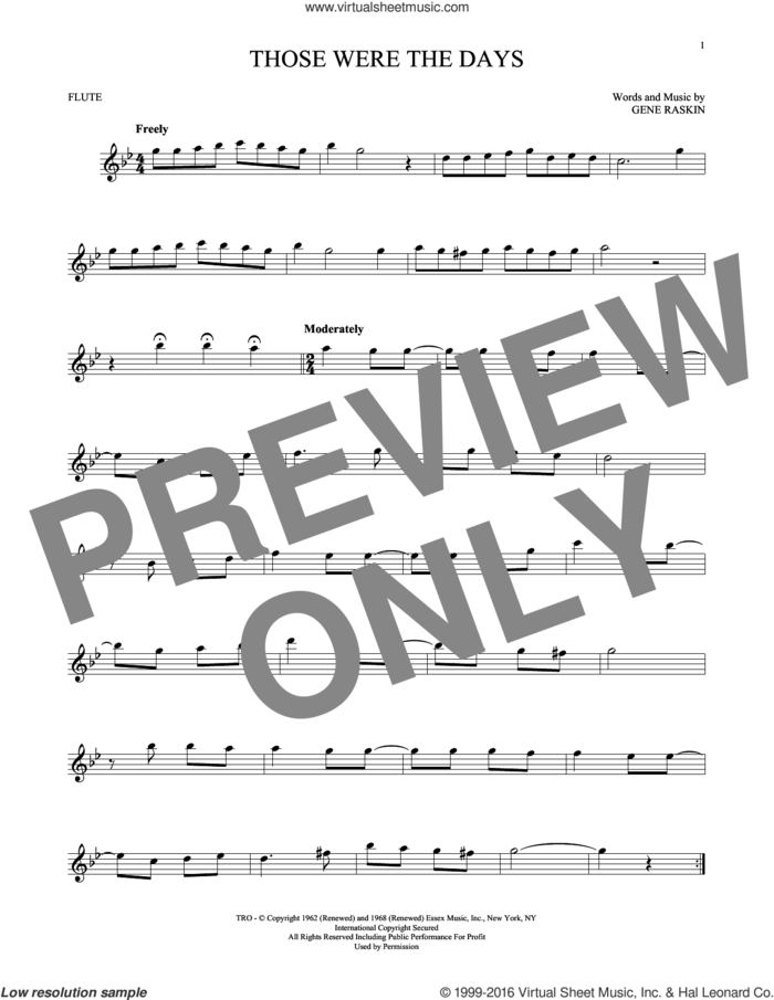 Those Were The Days sheet music for flute solo by Mary Hopkins and Gene Raskin, intermediate skill level