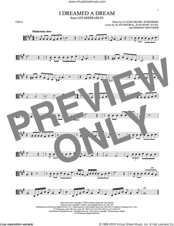 I Dreamed A Dream sheet music for viola solo by Claude-Michel Schonberg, intermediate skill level