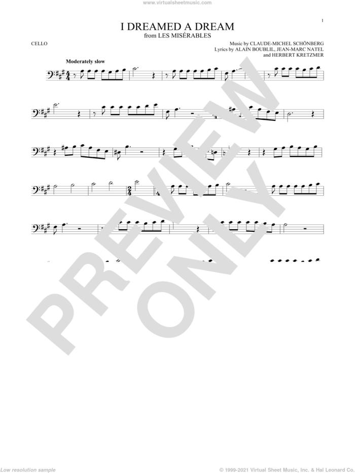 I Dreamed A Dream sheet music for cello solo by Claude-Michel Schonberg, intermediate skill level