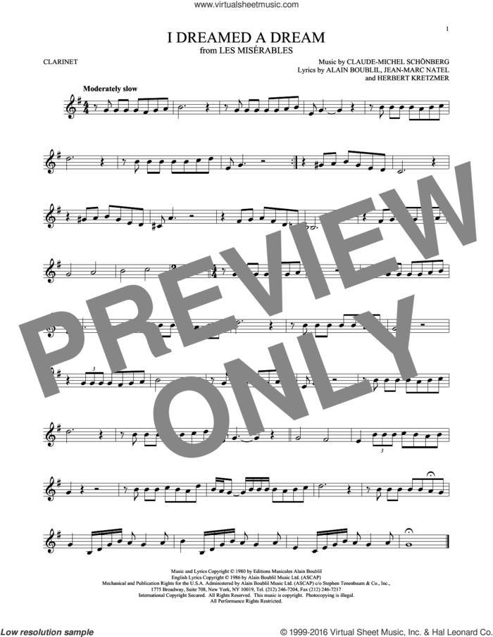 I Dreamed A Dream sheet music for clarinet solo by Claude-Michel Schonberg, intermediate skill level