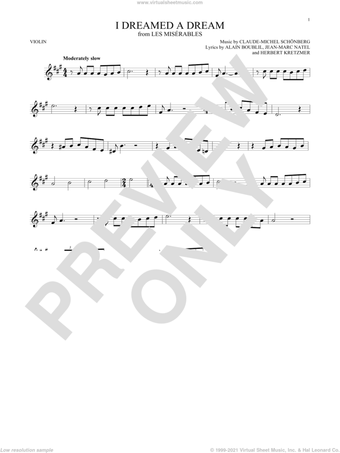 I Dreamed A Dream sheet music for violin solo by Claude-Michel Schonberg, intermediate skill level