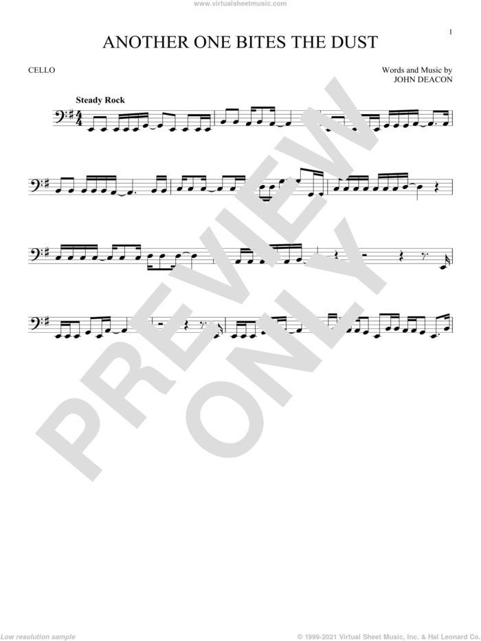 Another One Bites The Dust sheet music for cello solo by Queen and John Deacon, intermediate skill level