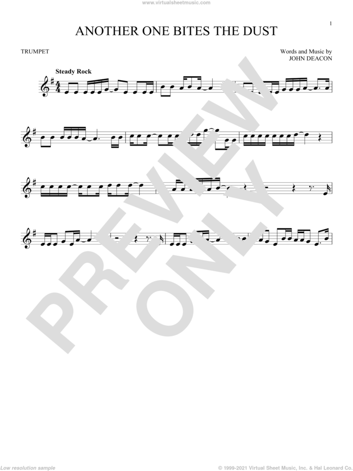 Another One Bites The Dust sheet music for trumpet solo by Queen and John Deacon, intermediate skill level