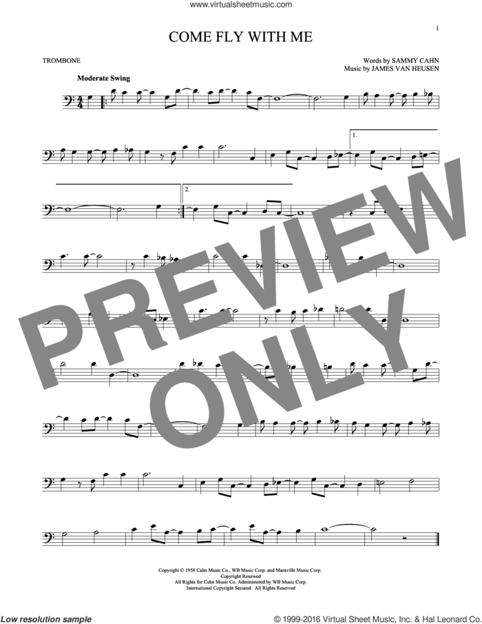 Come Fly With Me sheet music for trombone solo by Sammy Cahn, Jimmy van Heusen and Sammy Cahn & James Van Heusen, intermediate skill level