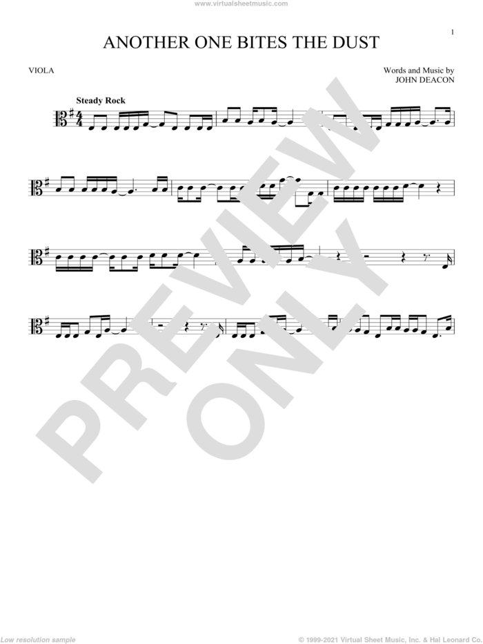 Another One Bites The Dust sheet music for viola solo by Queen and John Deacon, intermediate skill level