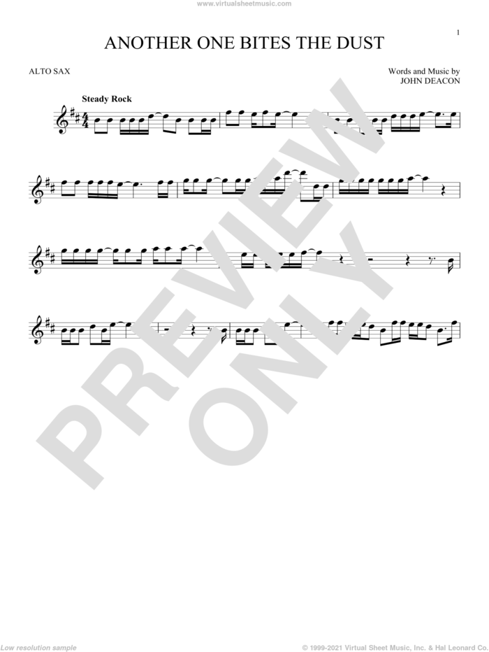 Another One Bites The Dust sheet music for alto saxophone solo by Queen and John Deacon, intermediate skill level