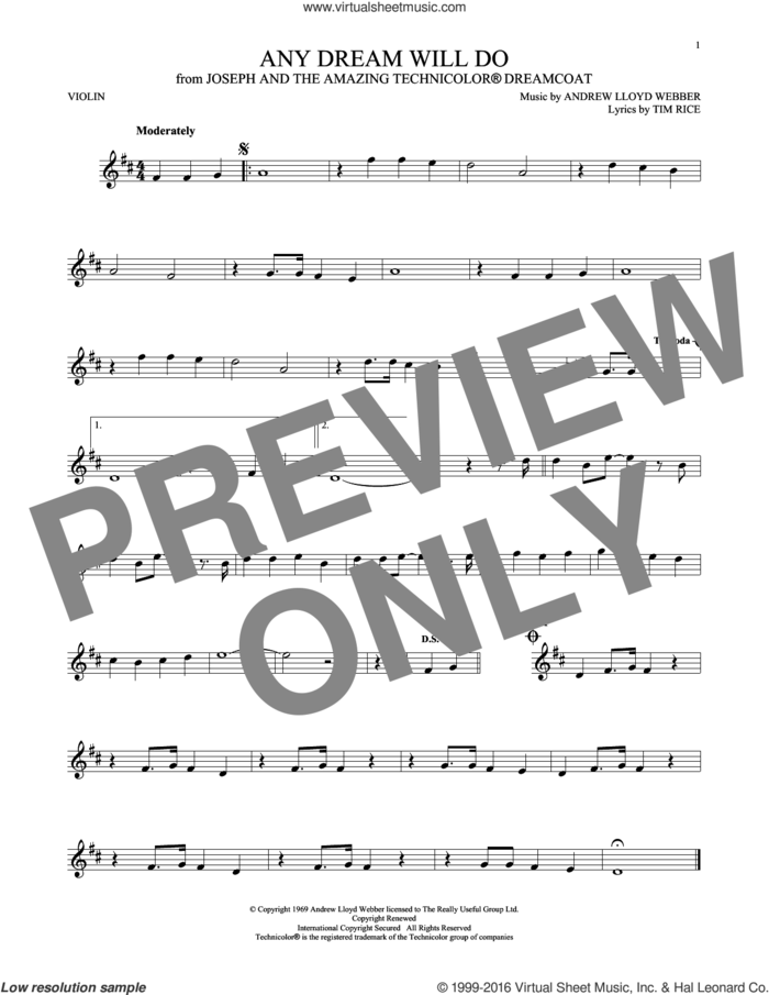 Any Dream Will Do (from Joseph and the Amazing Technicolor Dreamcoat) sheet music for violin solo by Andrew Lloyd Webber, Andrew Lloyd Webber & Tim Rice and Tim Rice, intermediate skill level