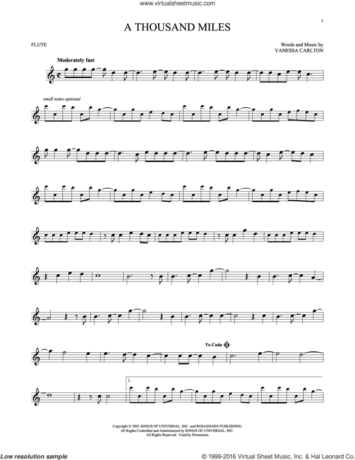 A Thousand Miles sheet music for flute solo by Vanessa Carlton, intermediate skill level