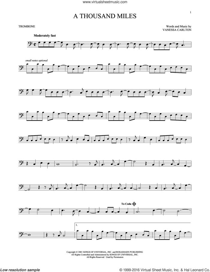 A Thousand Miles sheet music for trombone solo by Vanessa Carlton, intermediate skill level
