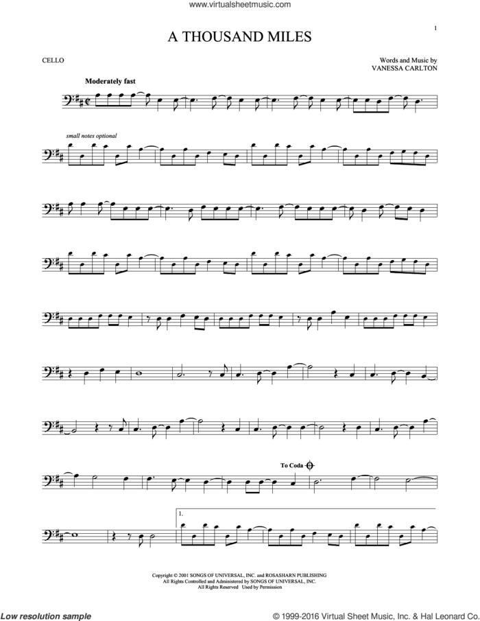 A Thousand Miles sheet music for cello solo by Vanessa Carlton, intermediate skill level