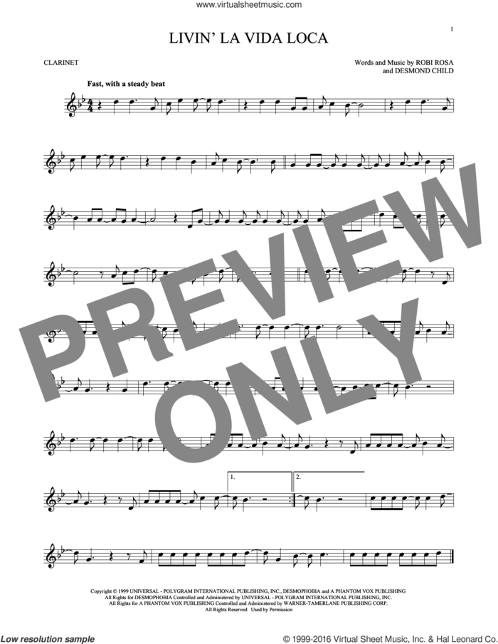 Livin' La Vida Loca sheet music for clarinet solo by Ricky Martin, Desmond Child and Robi Rosa, intermediate skill level