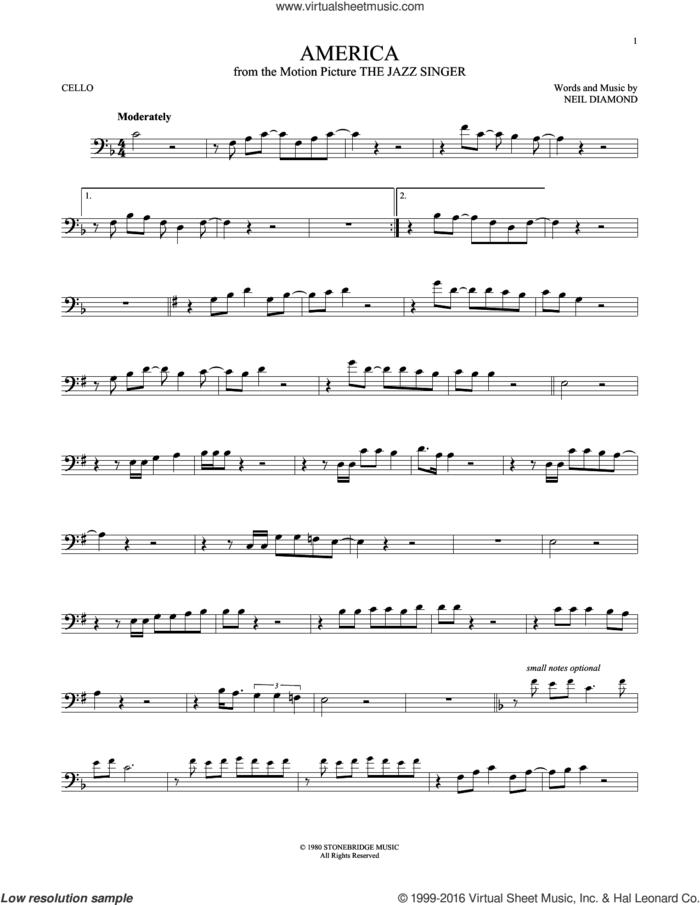 America sheet music for cello solo by Neil Diamond, intermediate skill level