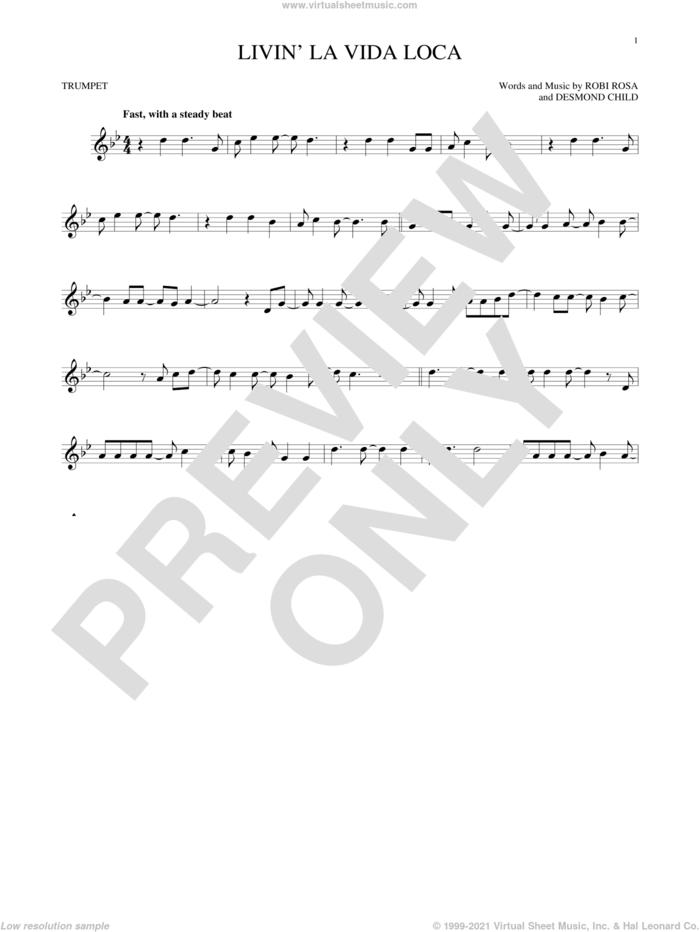 Livin' La Vida Loca sheet music for trumpet solo by Ricky Martin, Desmond Child and Robi Rosa, intermediate skill level