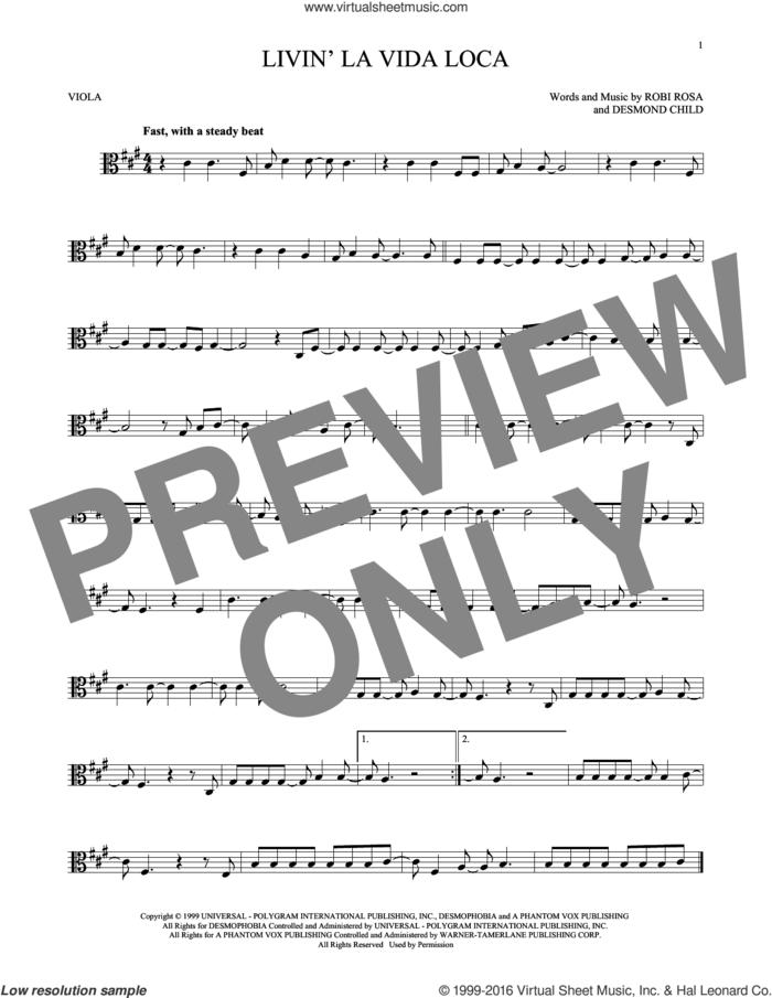 Livin' La Vida Loca sheet music for viola solo by Ricky Martin, Desmond Child and Robi Rosa, intermediate skill level