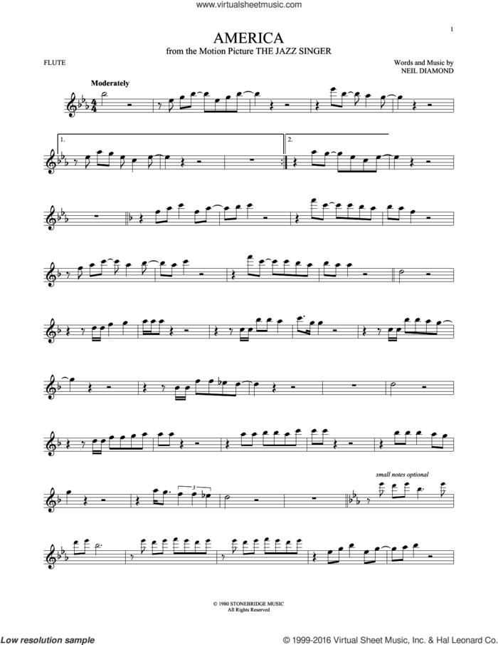 America sheet music for flute solo by Neil Diamond, intermediate skill level