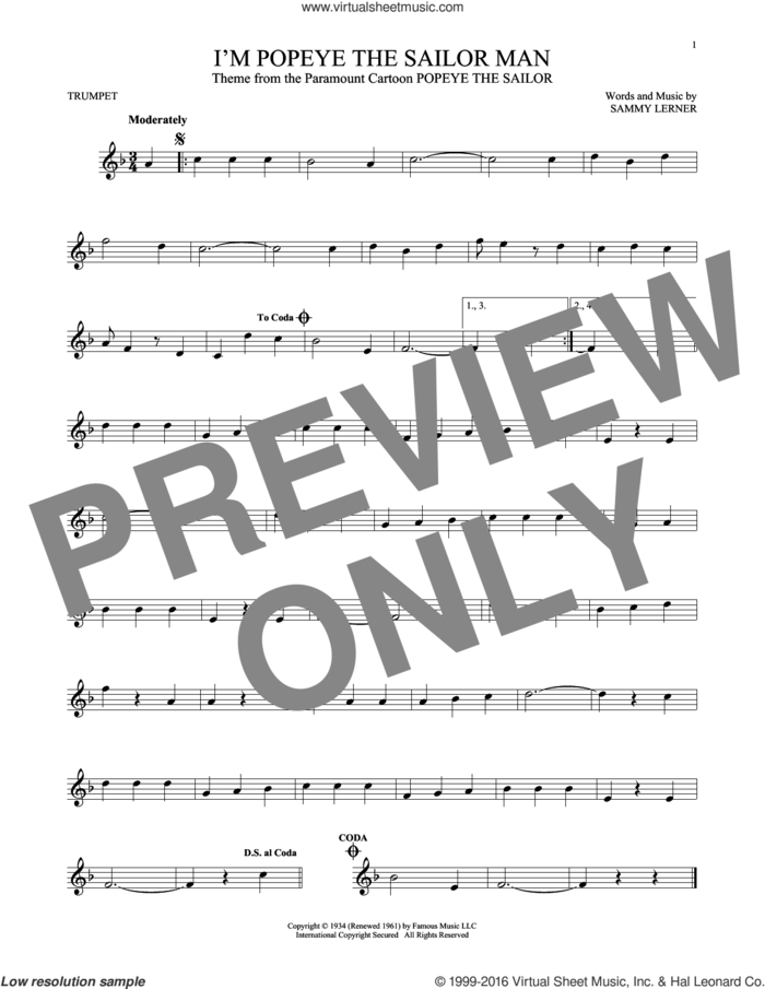 I'm Popeye The Sailor Man sheet music for trumpet solo by Sammy Lerner, intermediate skill level