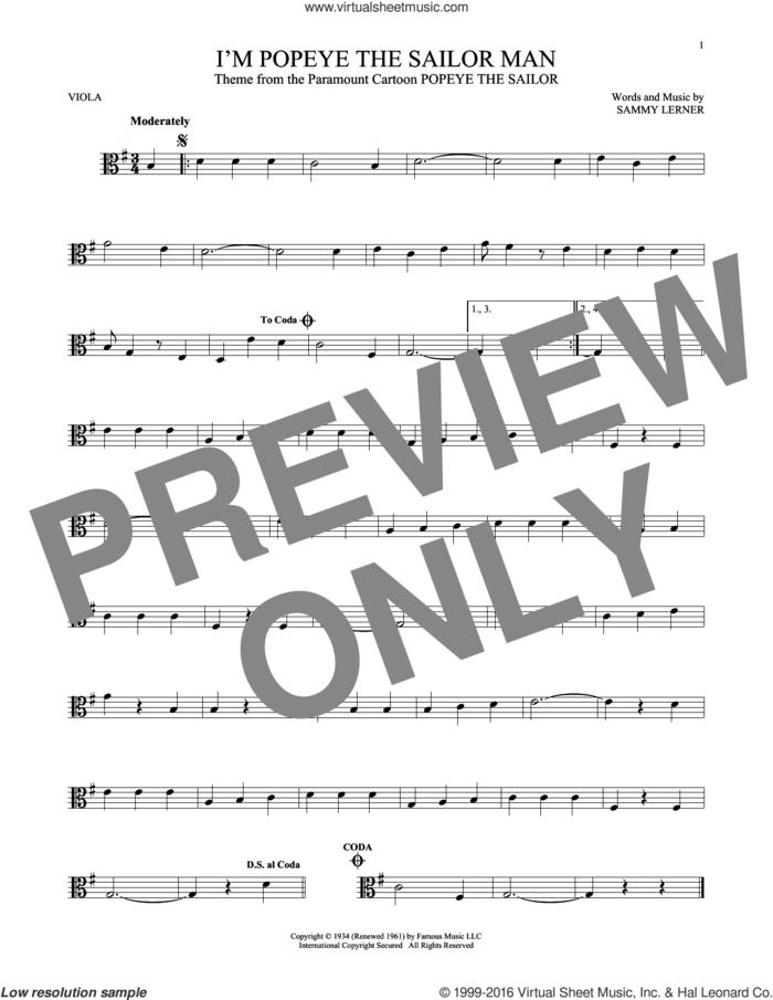 I'm Popeye The Sailor Man sheet music for viola solo by Sammy Lerner, intermediate skill level