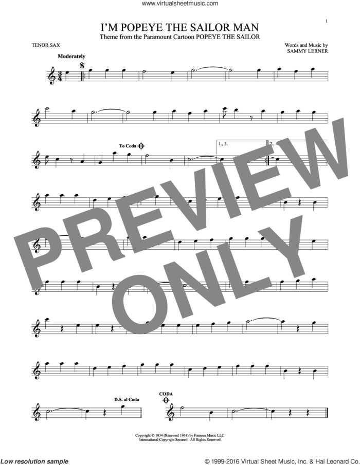 I'm Popeye The Sailor Man sheet music for tenor saxophone solo by Sammy Lerner, intermediate skill level